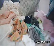 Quickie with bigtit gf in laundry room