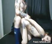 Wild Tattooed Couple in Hot Sex Scene Action