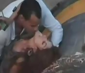 Arab slut caught getting horny outside