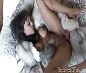 Horny home alone woman fingers her dripping pussy