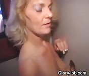 Aging Blonde Blowjob Through A Hole
