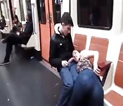 Total cock slut sucks some dick on the subway