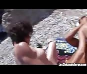 Fucked on the beach with two whores