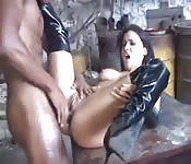 Banging brunette nailed by black stud