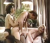 Crazy bisexual threesome sex from the 80s