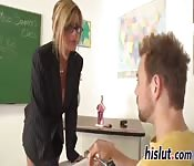 Busty blonde MILF teacher banged at her desk