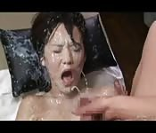 Noisy, wet Asian strap-on and tranny play