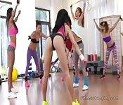 Lesbian threesome after gym training