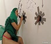 Two glory hole cocks for captivating Arab
