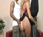 Two black dicks for a blonde MILF.