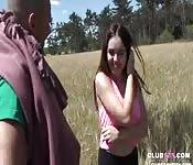 Busty teen slut fucked in a field