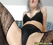 Silver Haired Hottie With Huge Juggs Fuck Her Vag