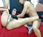 Two super fit Latina babes working each other over will