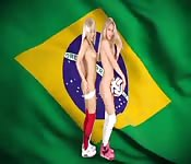 Blonde Brazilian babes flaunt it