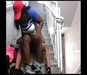 Black chick rides her man on the stairs