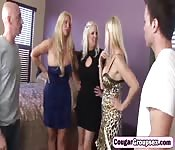 Blonde cougars group fucking big dicks
