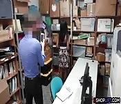 Ebony busty shoplifter teen got fucked
