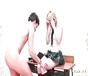 Blonde schoolgirl in glasses and short skirt gets two