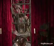 Tattooed slave gets pegged by his mistress