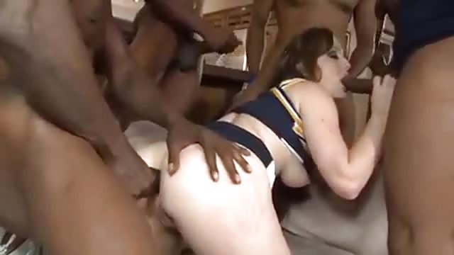 Cheerleaders gangbang video